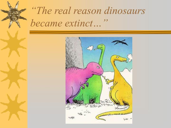 """The real reason dinosaurs became extinct…"""