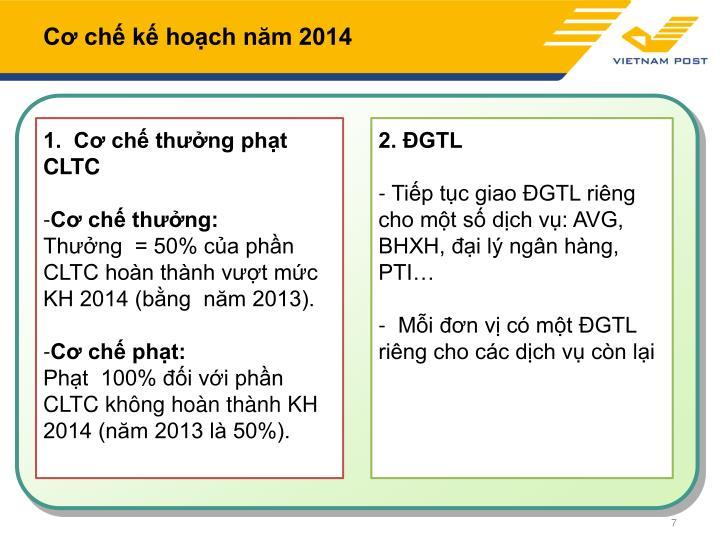 Cơ chế kế hoạch năm 2014