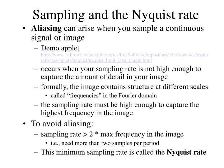 Sampling and the Nyquist rate