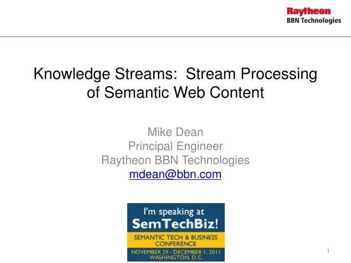 knowledge streams stream processing of semantic web content