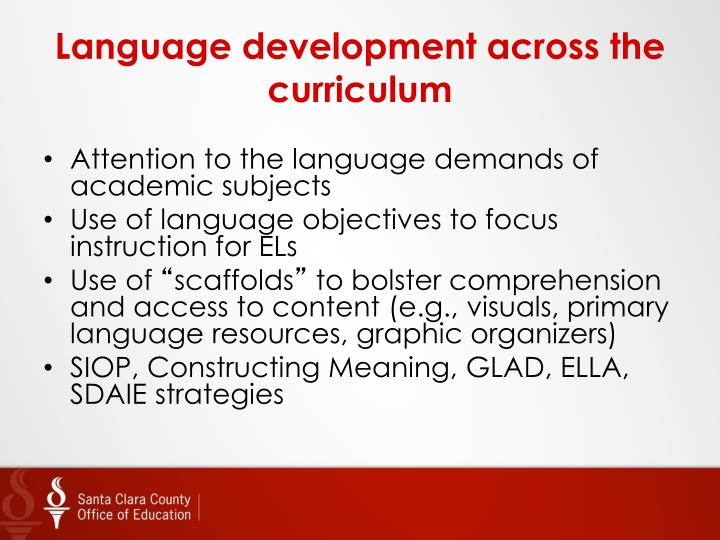 Language development across the curriculum