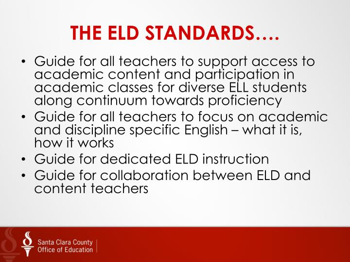 THE ELD STANDARDS….