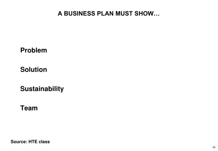 A BUSINESS PLAN MUST SHOW…