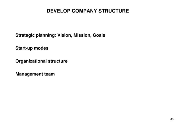 DEVELOP COMPANY STRUCTURE