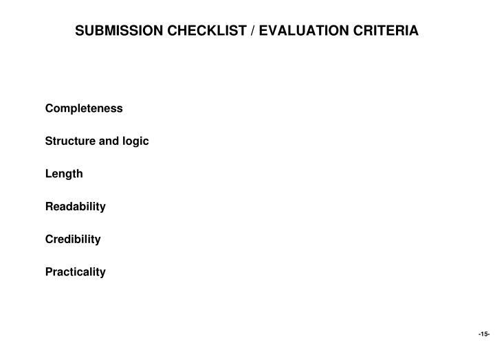 SUBMISSION CHECKLIST / EVALUATION CRITERIA