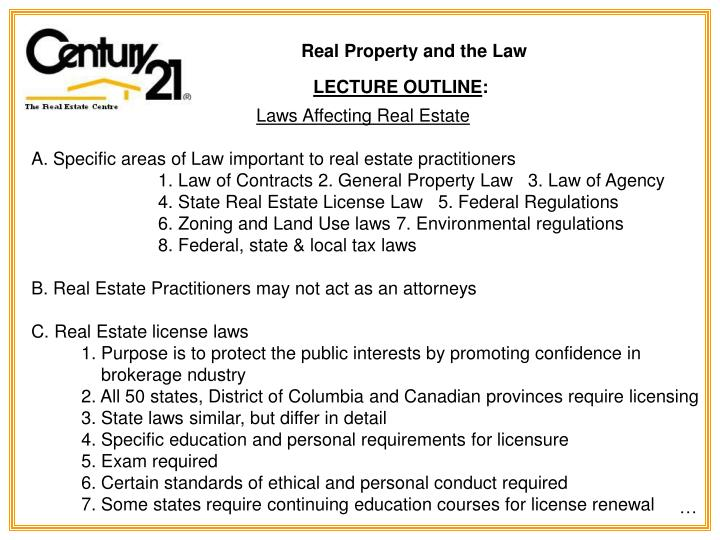Real Property and the Law