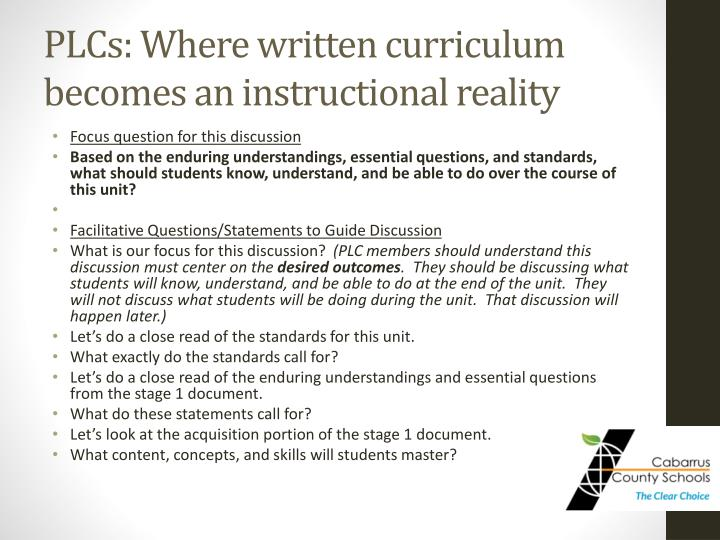 PLCs: Where written curriculum becomes an instructional reality
