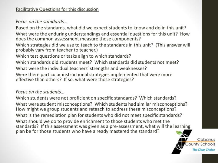 Facilitative Questions for this discussion