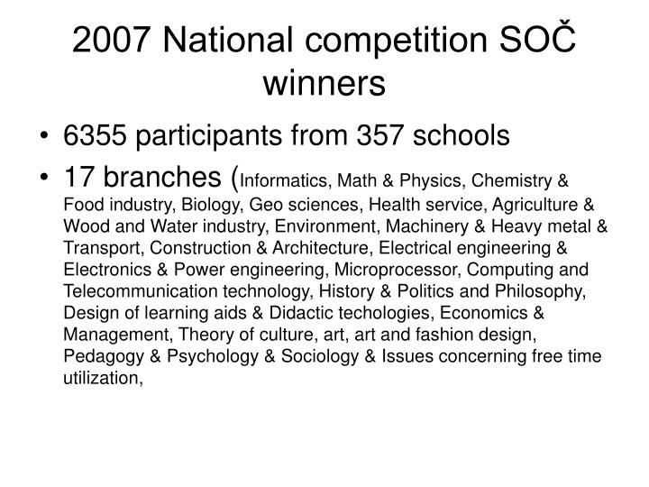 2007 National competition SOČ winners