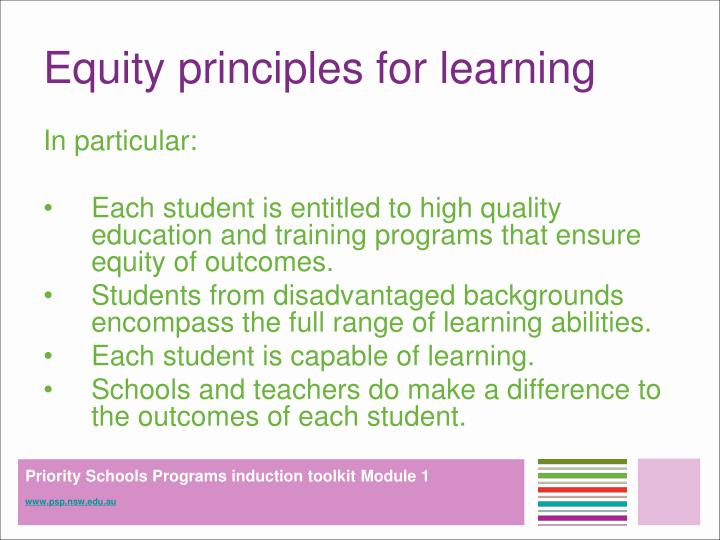 Equity principles for learning