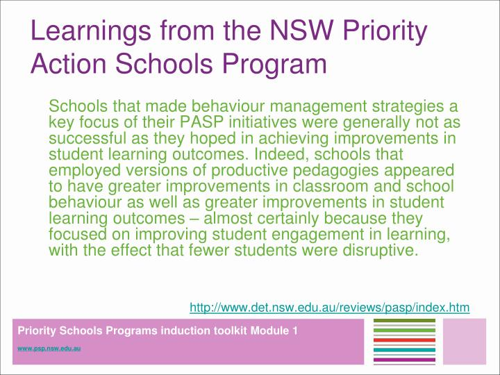 Learnings from the NSW Priority Action Schools Program