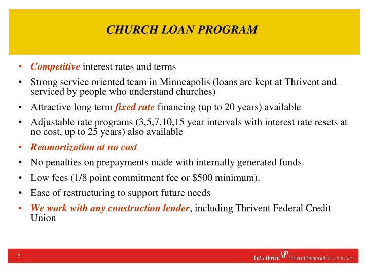 CHURCH LOAN PROGRAM