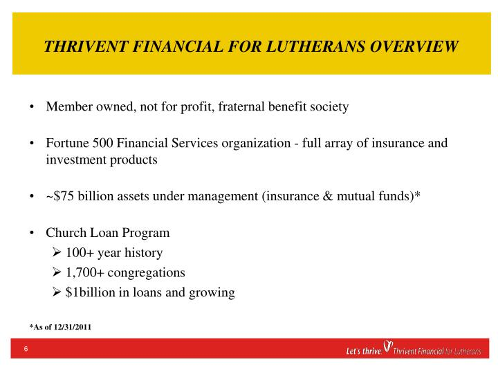 THRIVENT FINANCIAL FOR LUTHERANS OVERVIEW