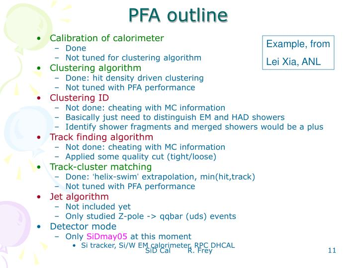 PFA outline