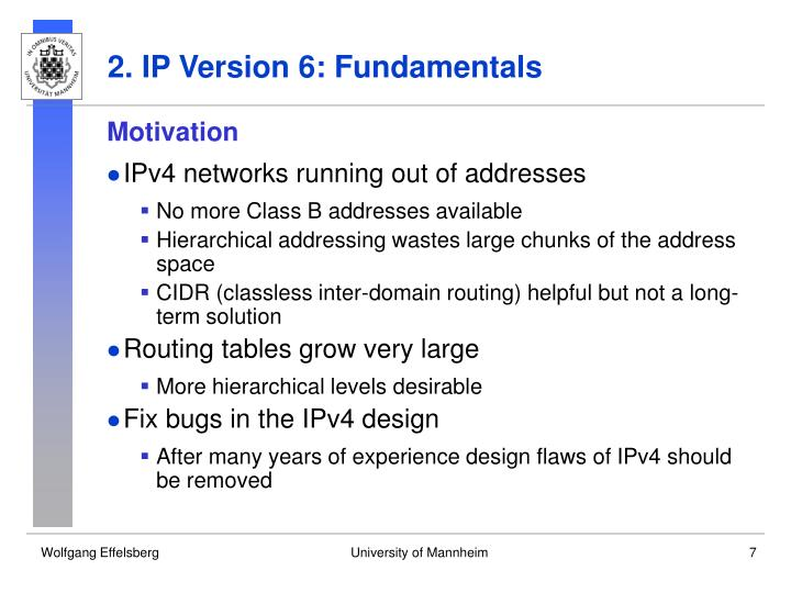 2. IP Version 6: Fundamentals