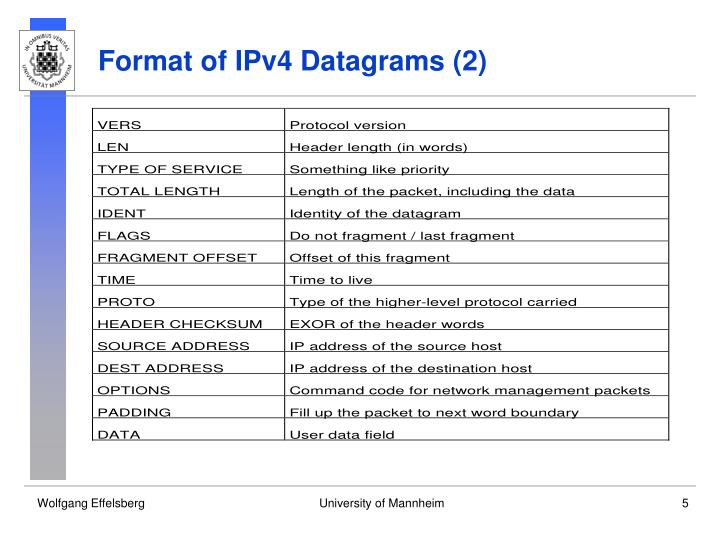Format of IPv4 Datagrams (2)