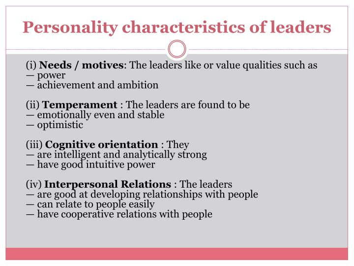 Personality characteristics of leaders