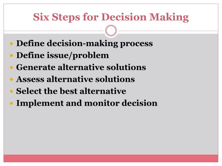 Six Steps for Decision Making
