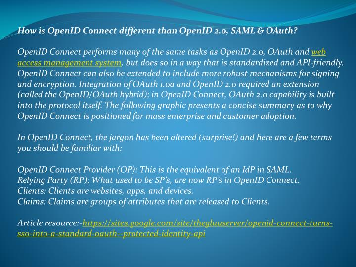 How is OpenID Connect different than OpenID 2.0, SAML & OAuth?