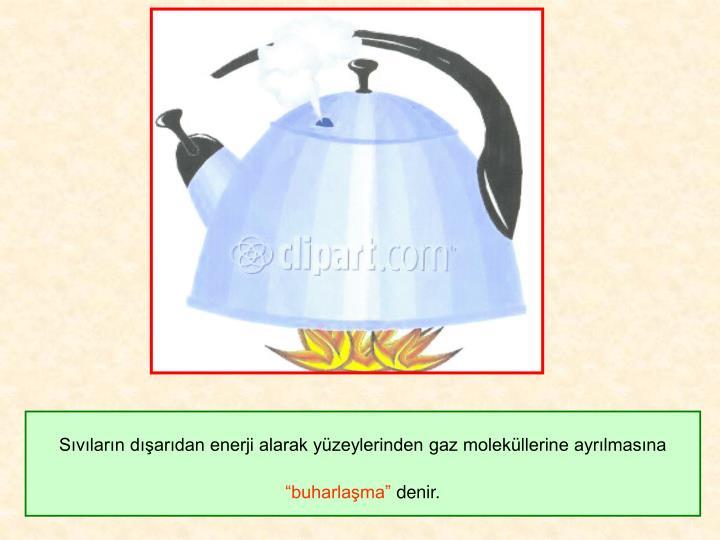 Sıvıların dışarıdan enerji alarak yüzeylerinden gaz moleküllerine ayrılmasına