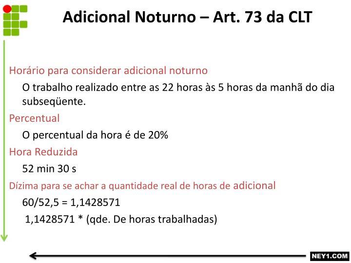 Adicional Noturno – Art. 73 da CLT