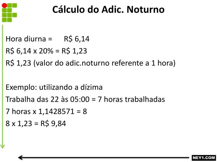 Cálculo do Adic. Noturno