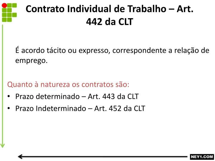 Contrato Individual de Trabalho – Art. 442 da CLT