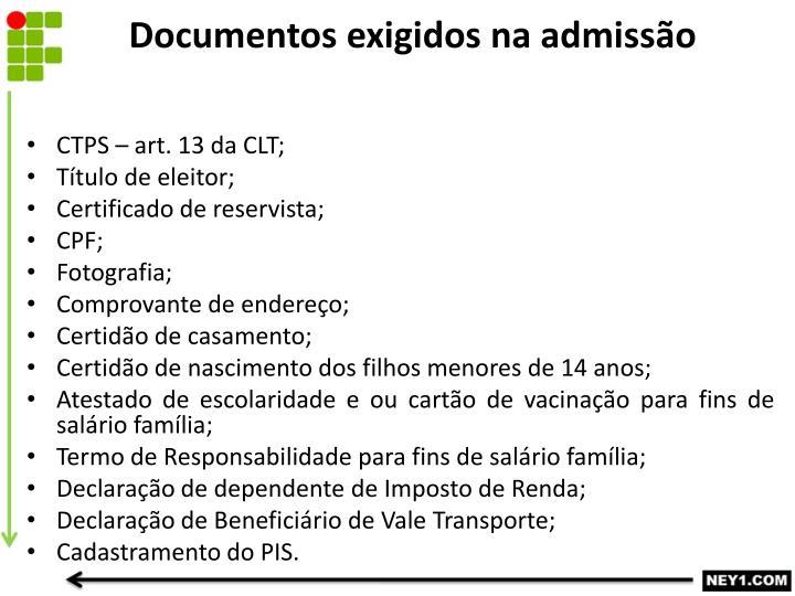 Documentos exigidos na admissão