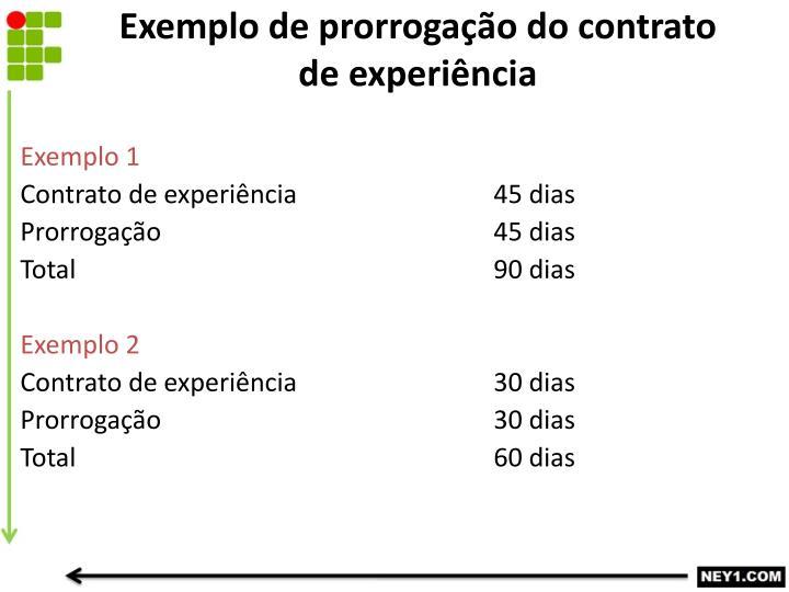 Exemplo de prorrogação do contrato de experiência