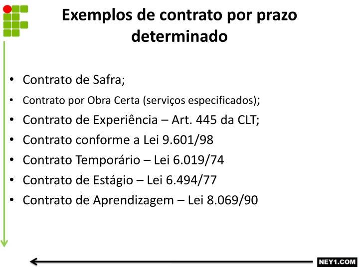 Exemplos de contrato por prazo determinado