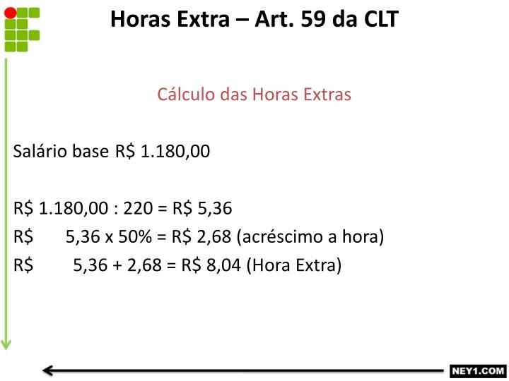 Horas Extra – Art. 59 da CLT