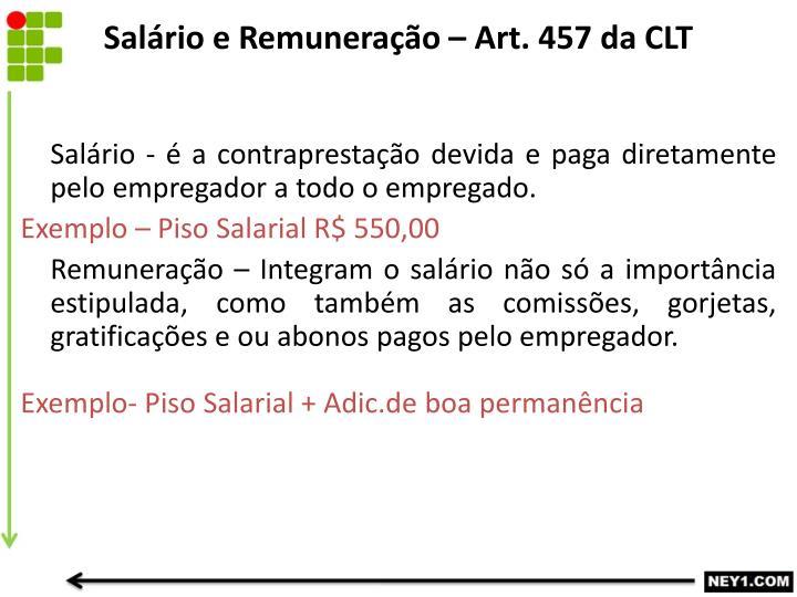 Salário e Remuneração – Art. 457 da CLT