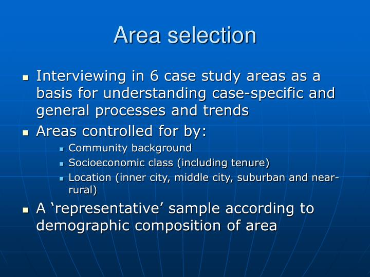 Area selection