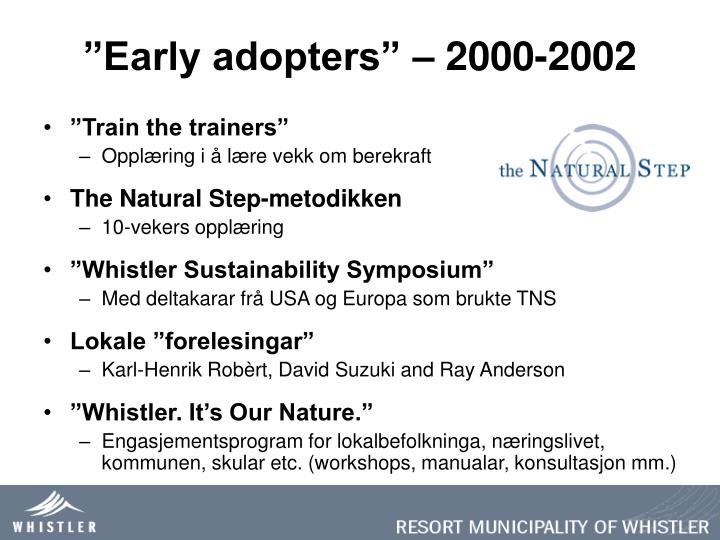 """Early adopters"" – 2000-2002"