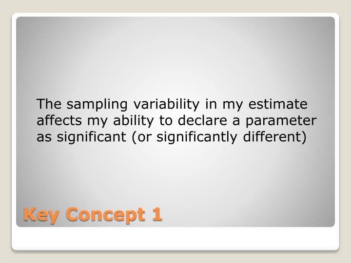 The sampling variability in my estimate affects my ability to declare a parameter as significant (or significantly different)