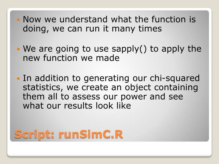 Now we understand what the function is doing, we can run it many times
