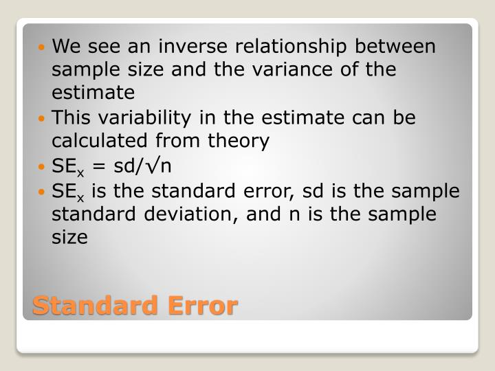 We see an inverse relationship between sample size and the variance of the estimate