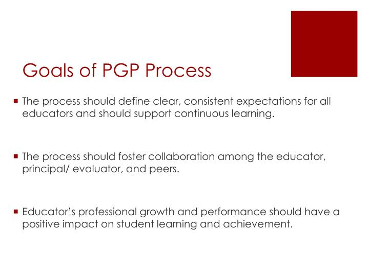 Goals of pgp process