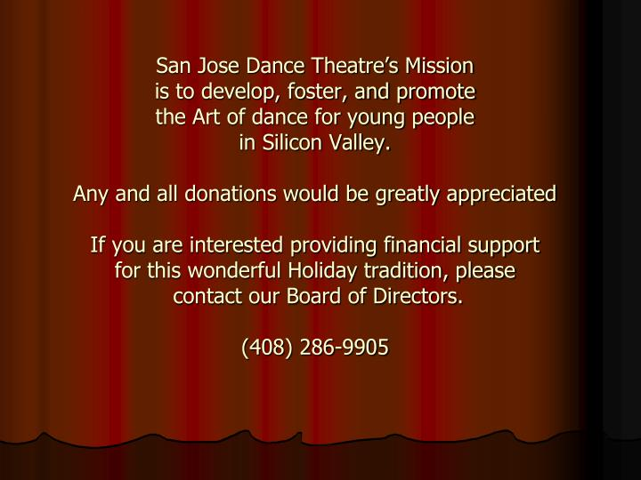 San Jose Dance Theatre's Mission