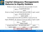 capital adequacy management returns to equity holders
