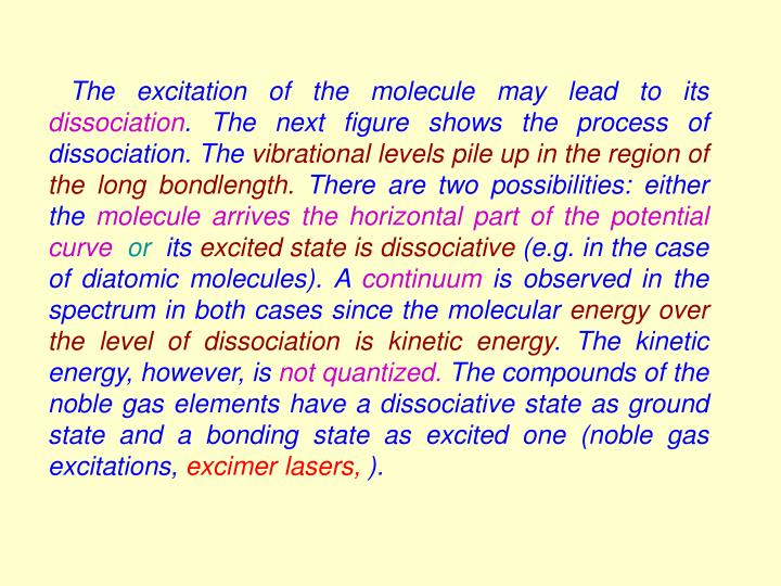 The excitation of the molecule may lead to its