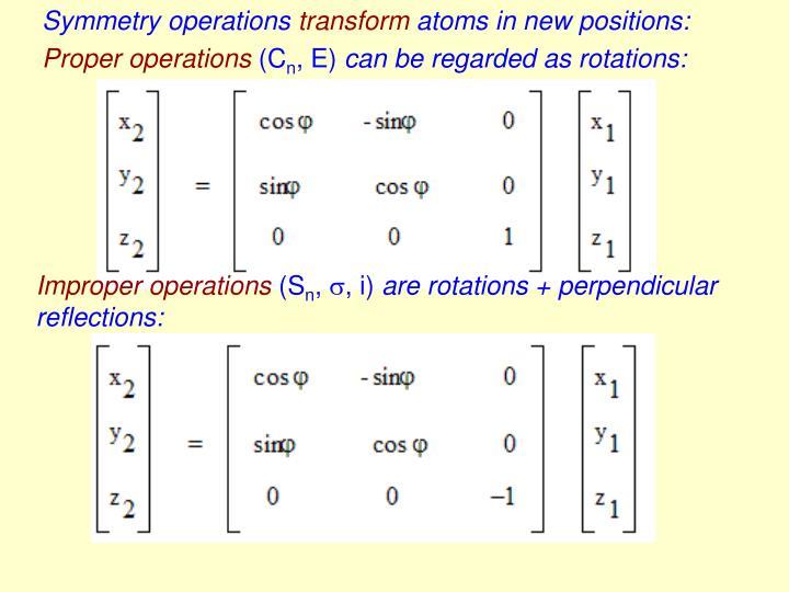 Symmetry operations