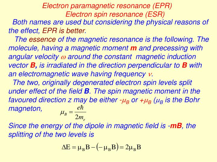 Electron paramagnetic resonance (EPR)
