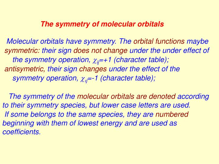 The symmetry of molecular orbitals