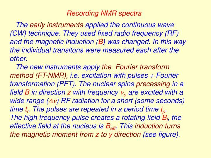Recording NMR spectra