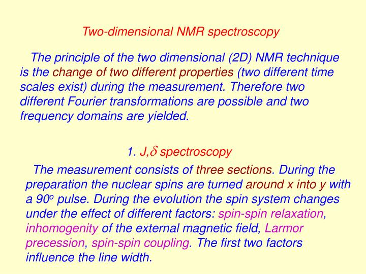 Two-dimensional NMR spectroscopy