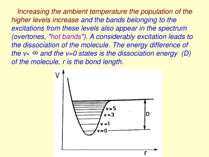 Increasing the ambient temperature the population of the higher levels increase
