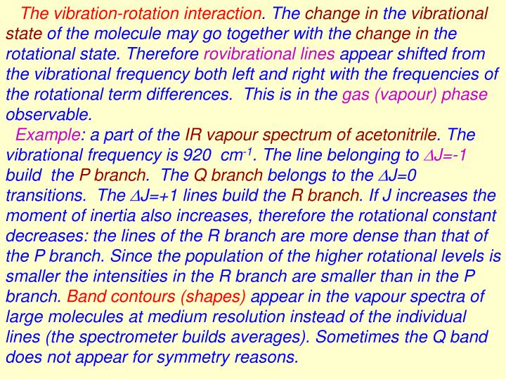 The vibration-rotation interaction