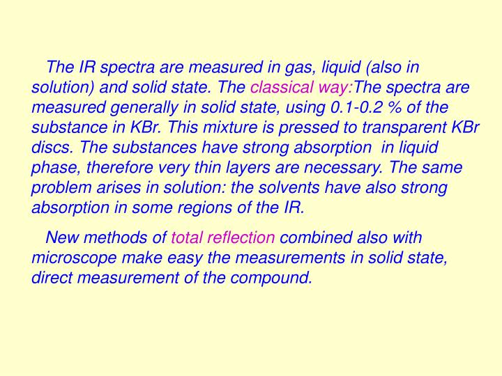 The IR spectra are measured in gas, liquid (also in solution) and solid state.