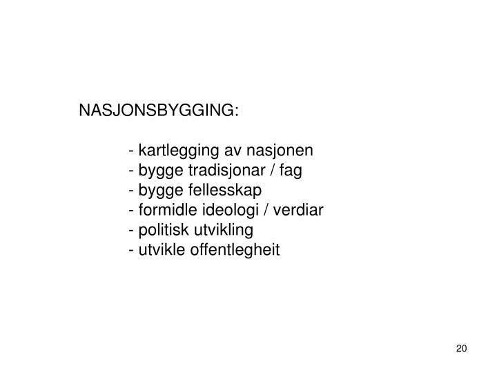 NASJONSBYGGING: